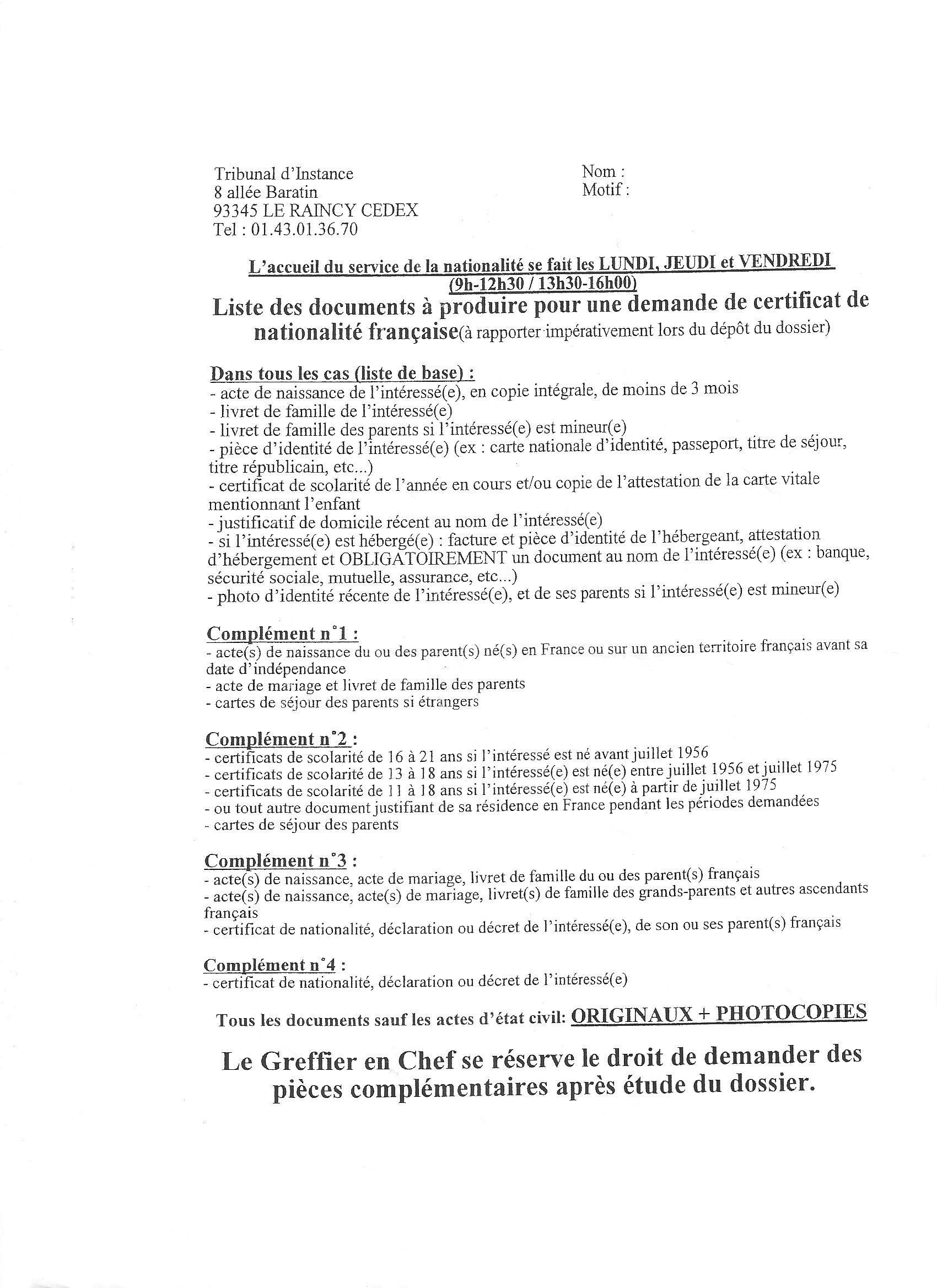 Liste pour le Certificat de Nationalité Française